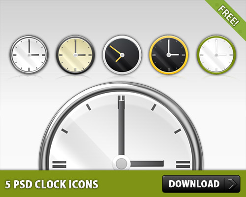 5 Free PSD Clock Icons
