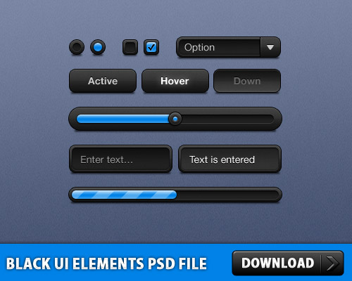 Black UI Elements Free PSD File
