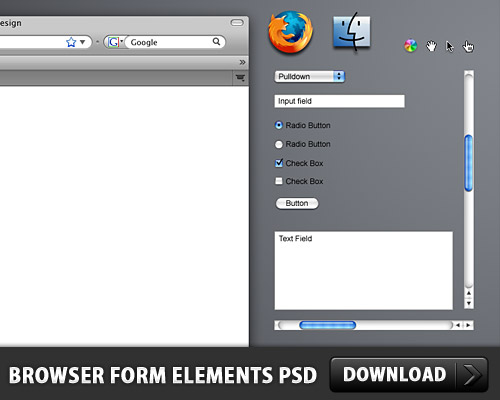 Browser Form Elements Free PSD