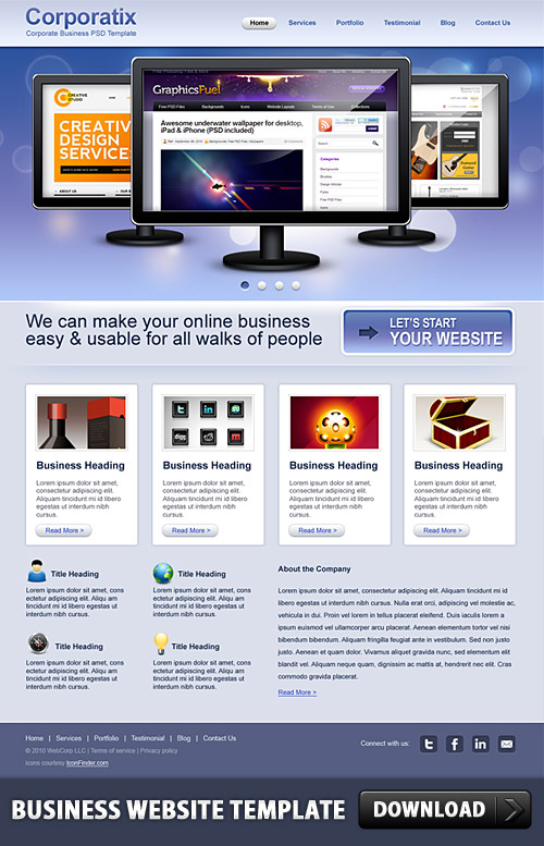 Business Website Free PSD Template