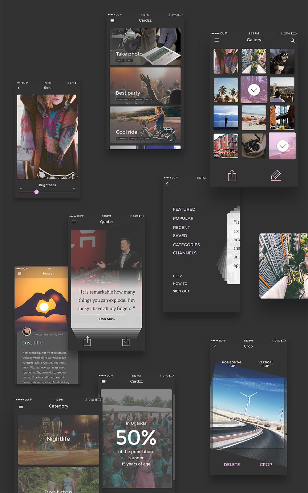 Card Style iPhone 6 iOS App UI Kit PSD