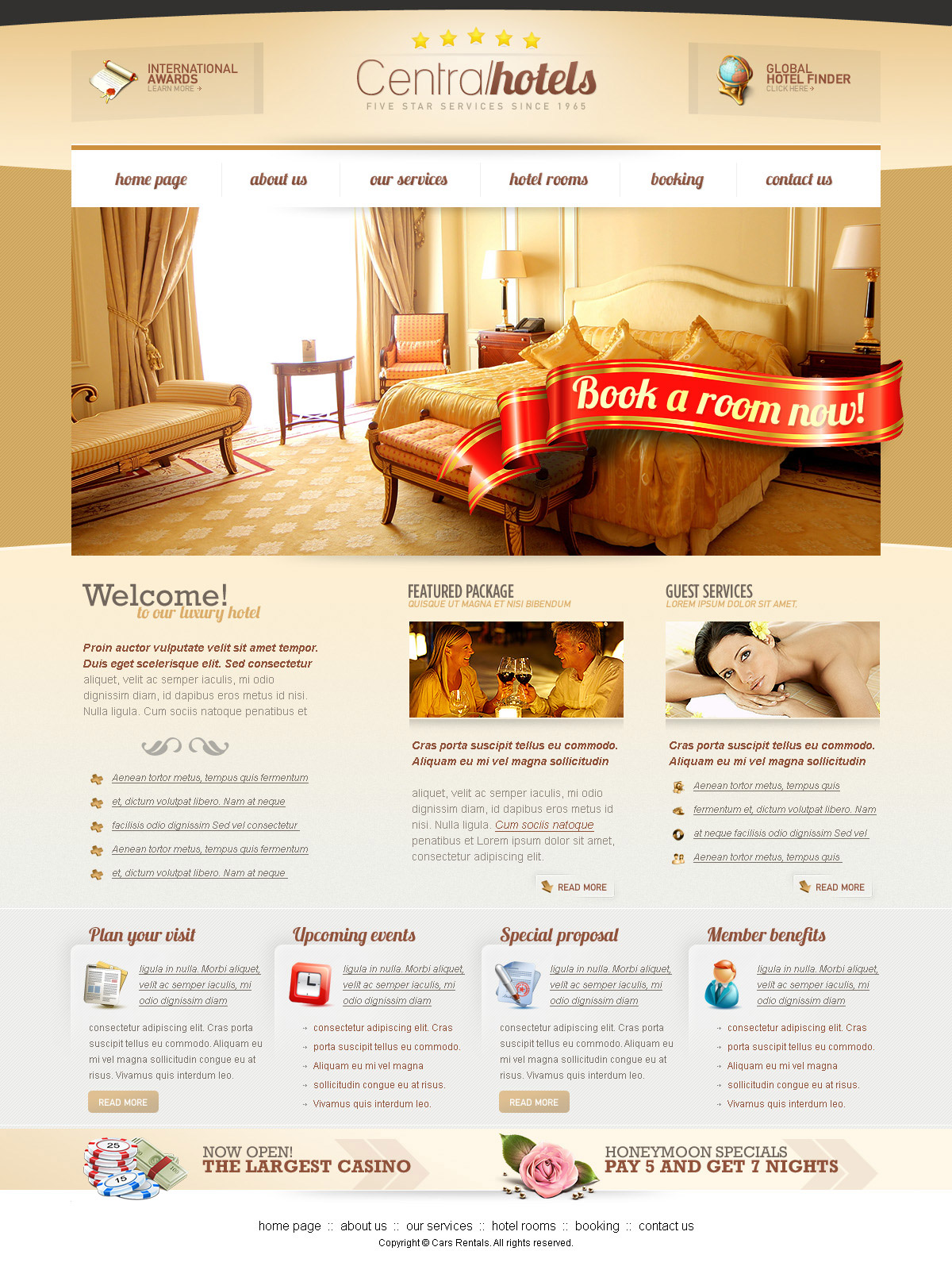Central Hotels PSD Website Template at DownloadFreePSD.com
