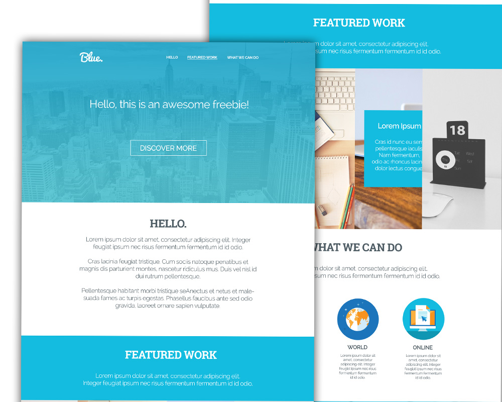 clean corporate blue single page template psd at. Black Bedroom Furniture Sets. Home Design Ideas