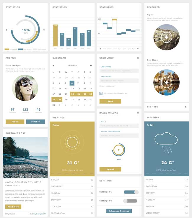 Clean Flat Style UI Kit Free PSD