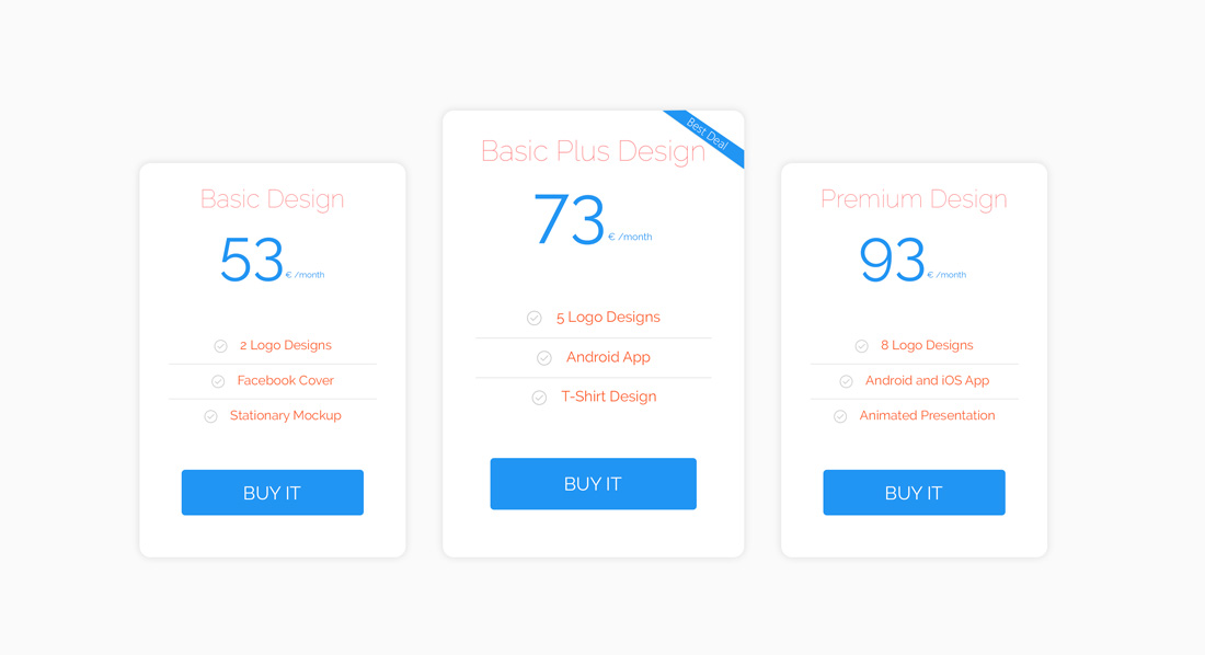 Clean Pricing Table UI Design Free PSD