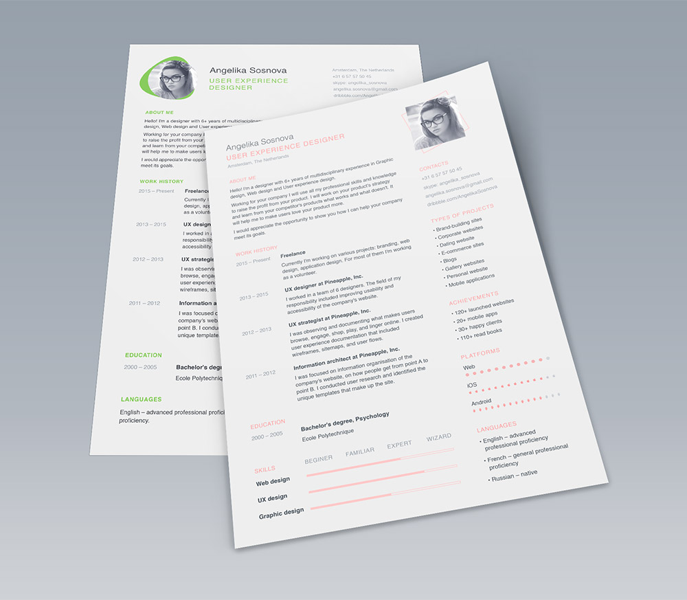 clean ui designer resume template free psd - Design Resume Templates