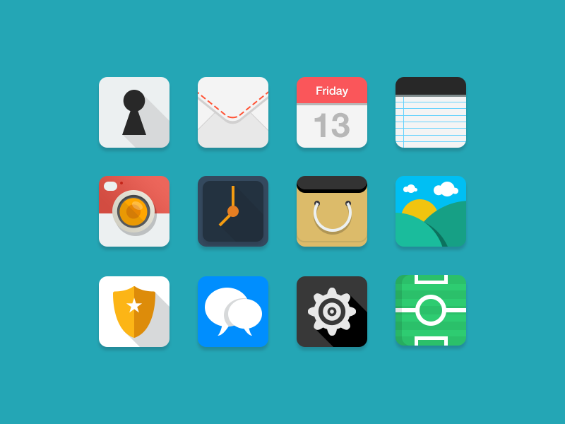Colorful Flat & Rounded Icons PSD Set