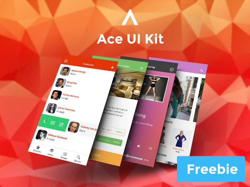 Colorful Flat IOS 8 UI Kit PSD Freebie