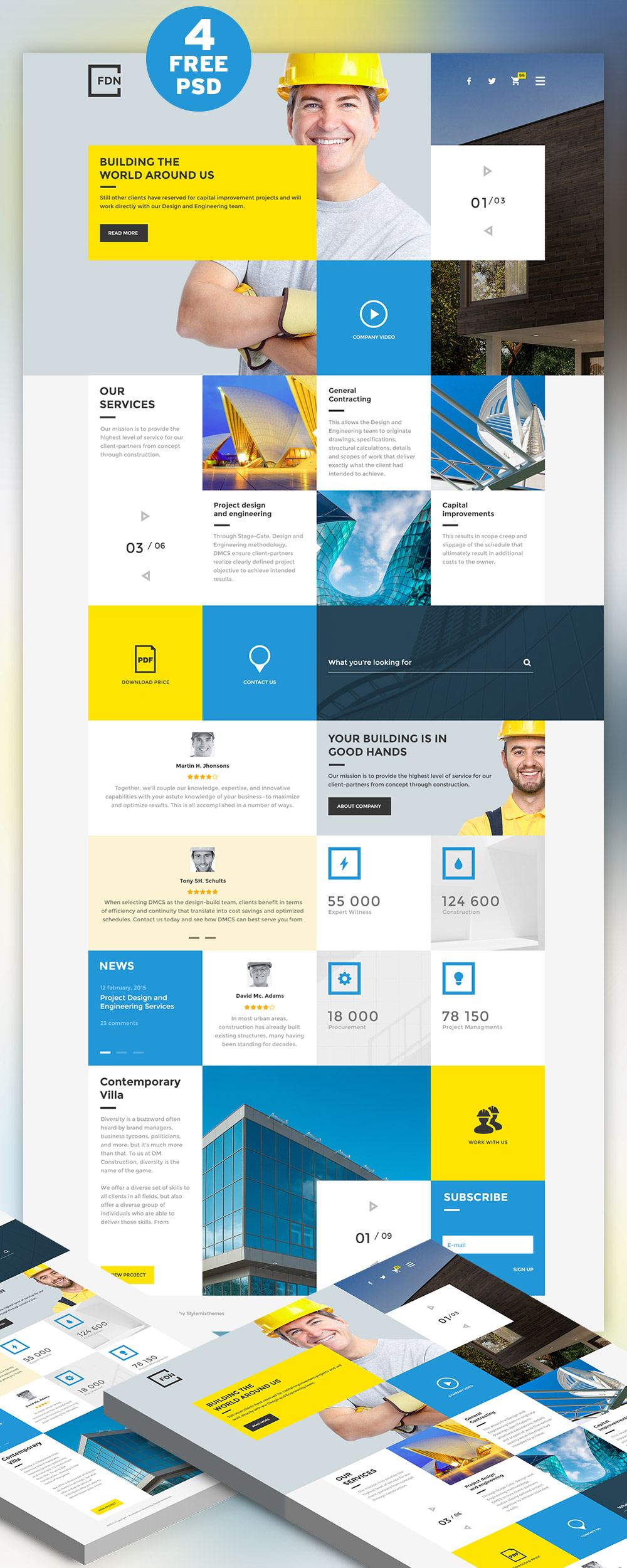 Construction Business Website Free PSD Template