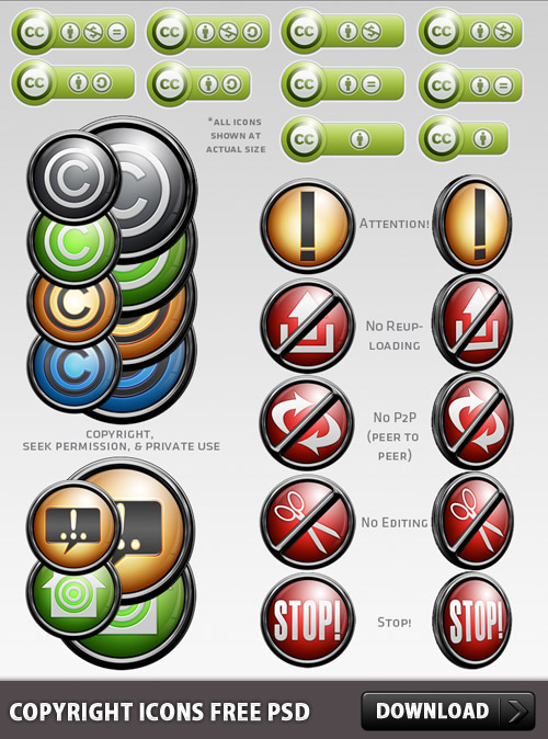 Copyright Icons Free PSD