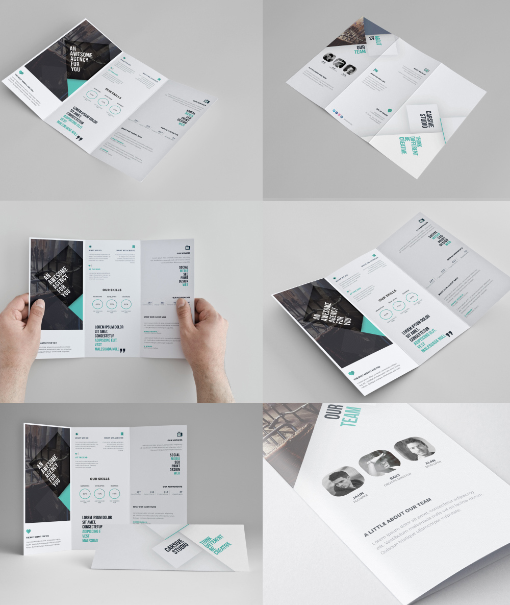 Corporate tri fold brochure template free psd at for Free template for brochure tri fold