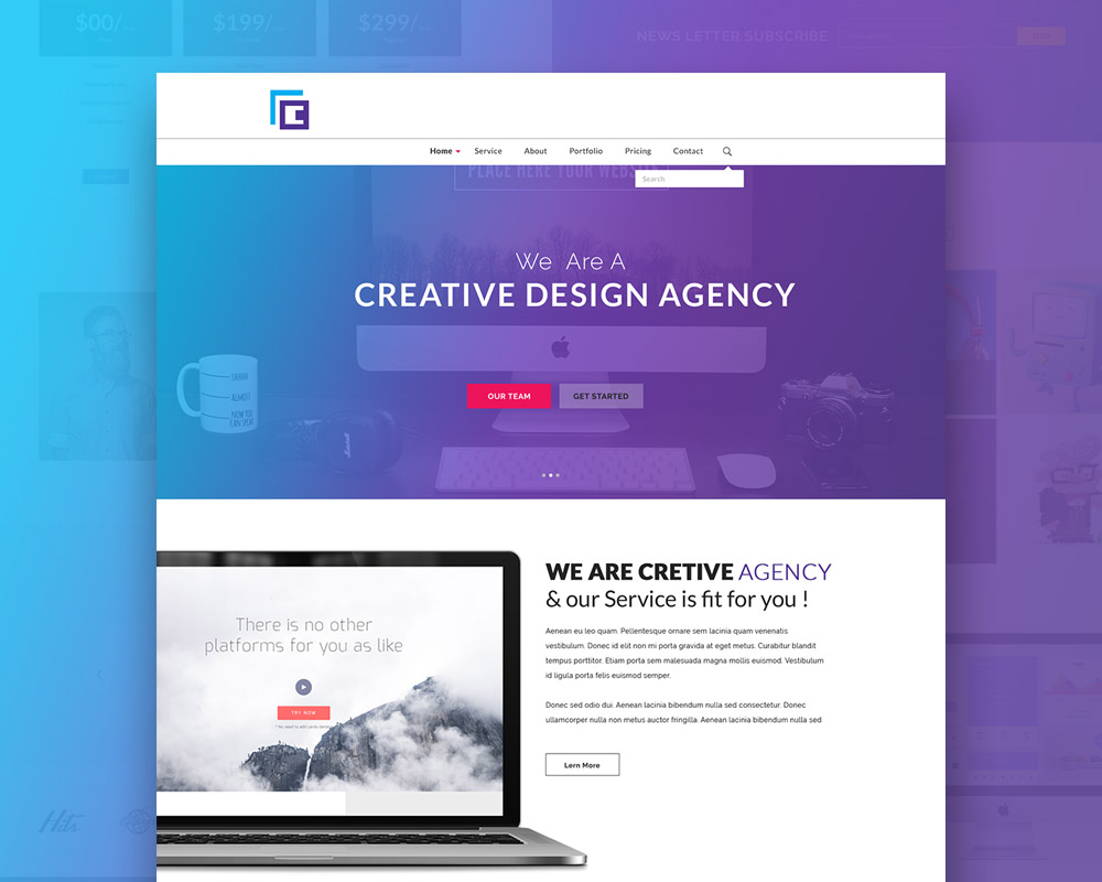 Creative Agency Website Template Free PSD At DownloadFreePSDcom - Free web site template