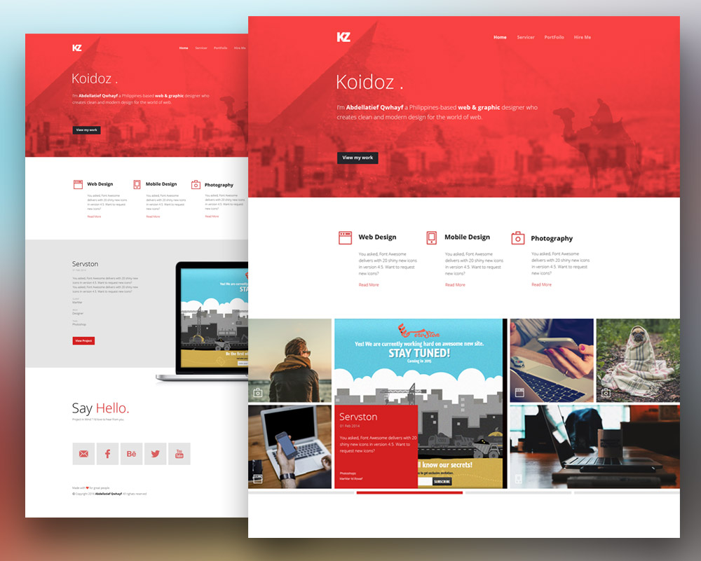 Creative personal website template free psd at for Website layout design software free download