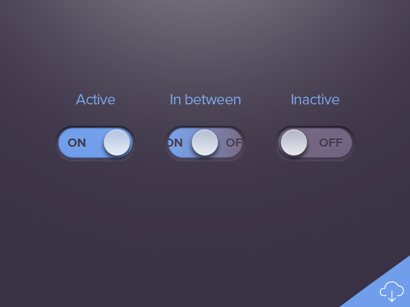 Dark Active Inactive UI Button Freebie PSD