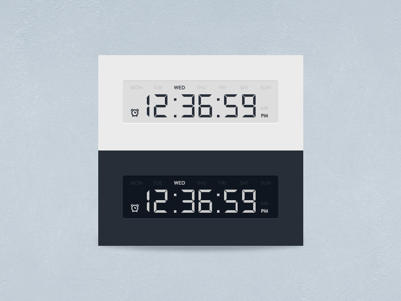 Digital Clock Timer UI Free PSD