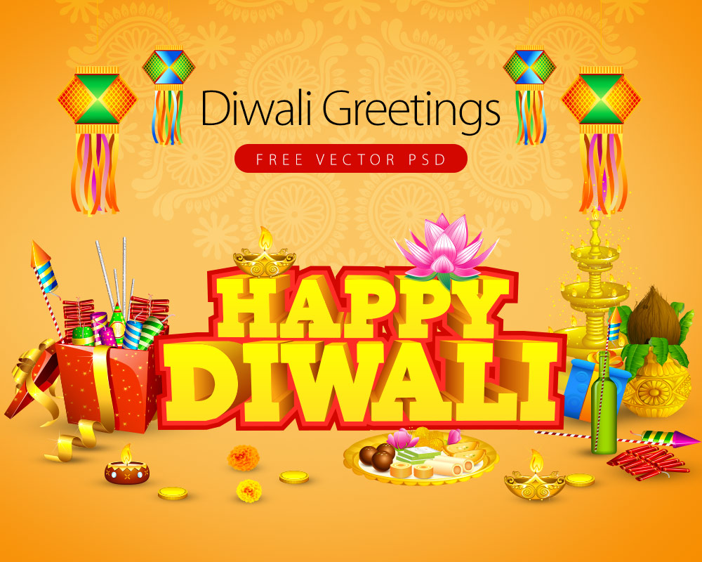 Diwali Greetings Card Free Vector PSD Graphics