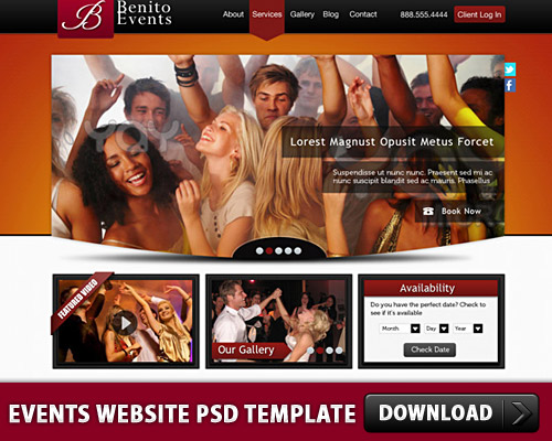 Events Website PSD Template