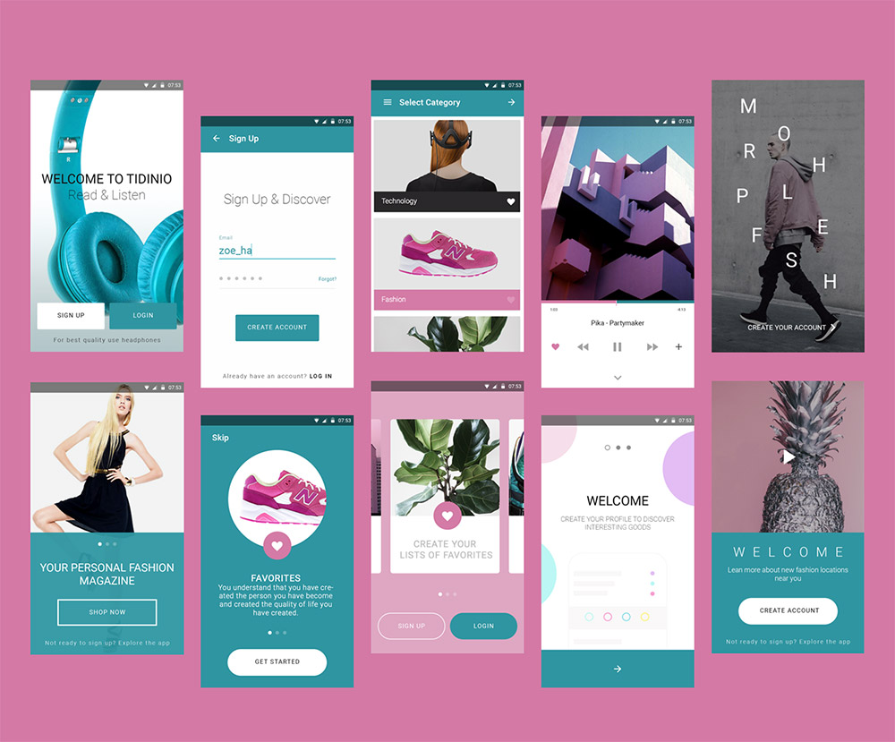Fashion Magazine Mobile App UI Kit Free PSD