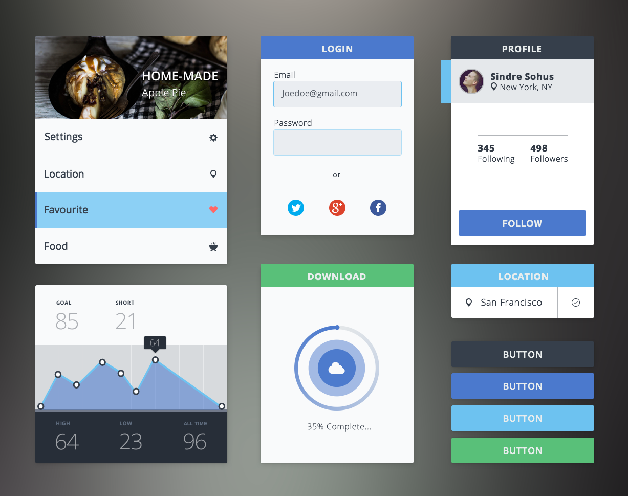 Flat UI Kit Free PSD file