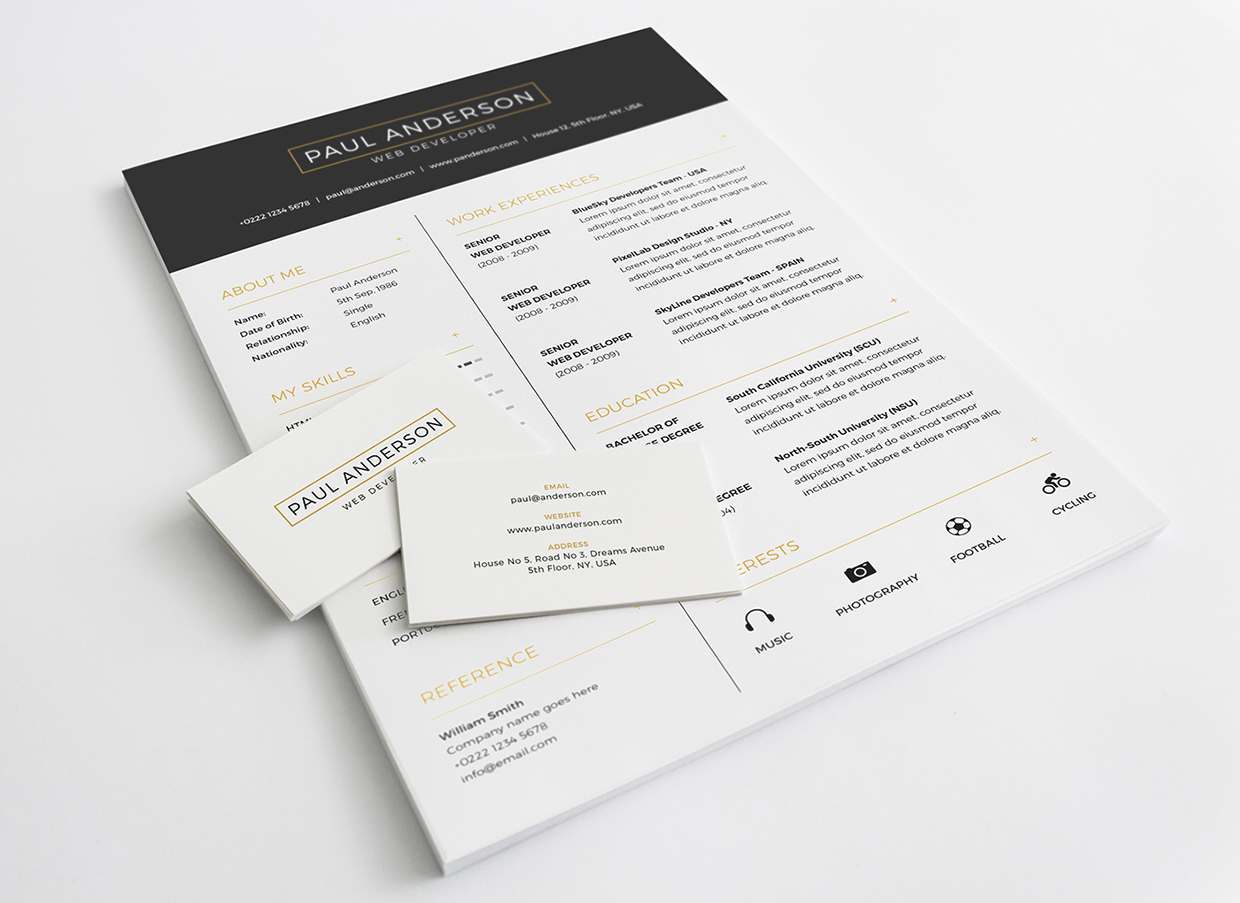 Free Resume With Business Card Template PSD