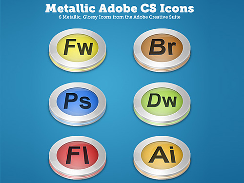 Glossy Metallic CS Icons PSD