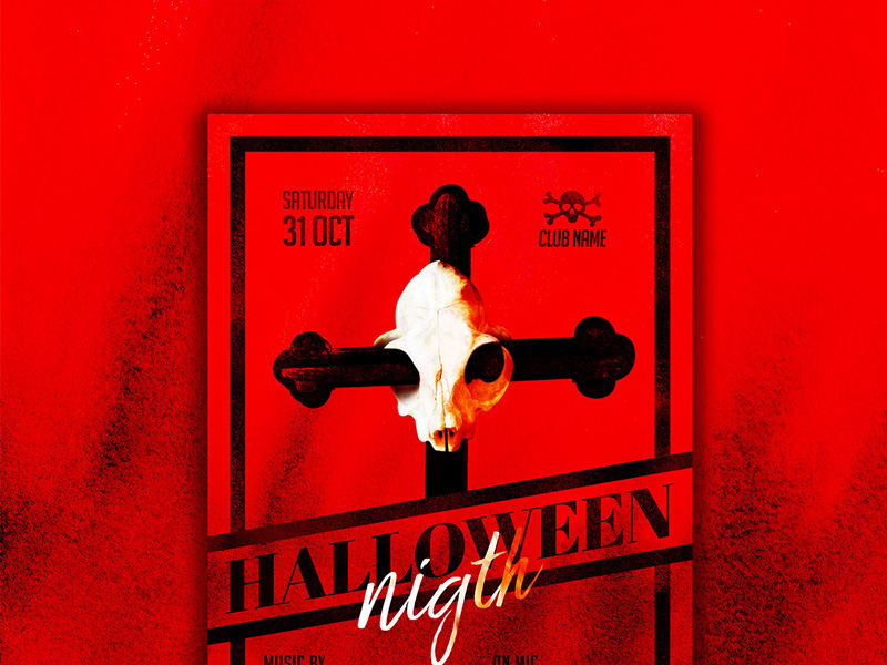 Halloween Red Flyer Template Free PSD
