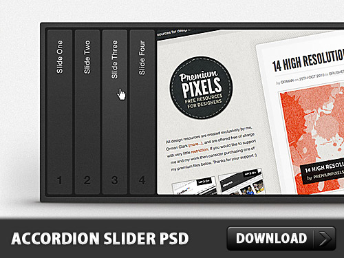 Horizontal Accordion Slider Free PSD