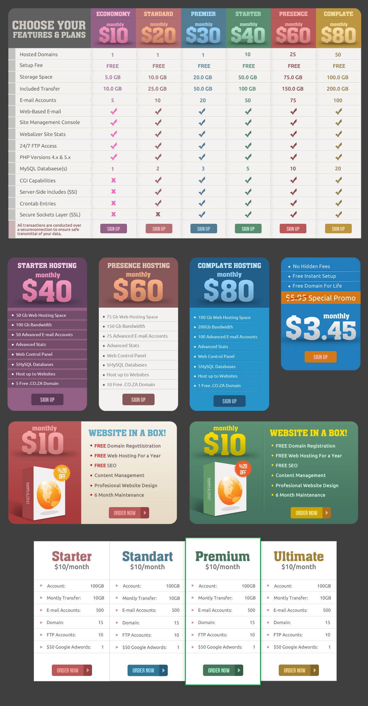 Hosting Price Tables And Website Banners PSD