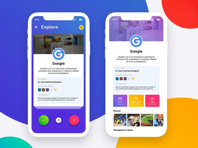 Job App Mobile UI Template PSD