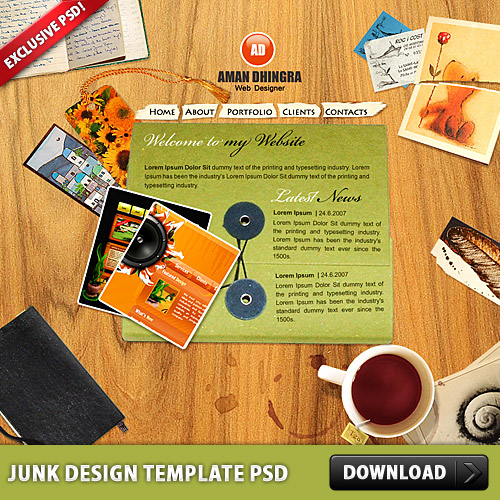 Junk Design Template PSD L