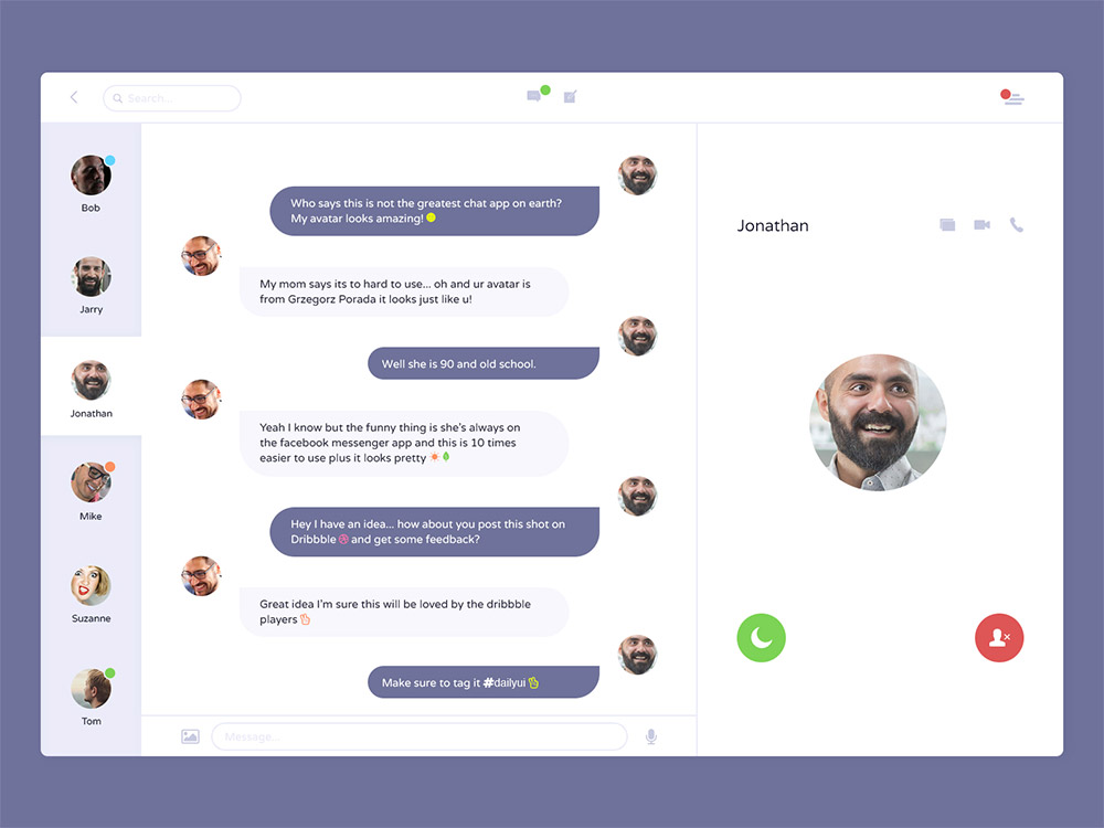 Messenger Application UI Design Free PSD at DownloadFreePSD.com