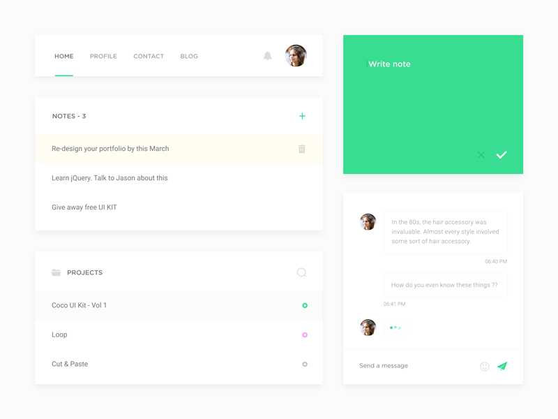 Minimal Clean UI Kit Free PSD