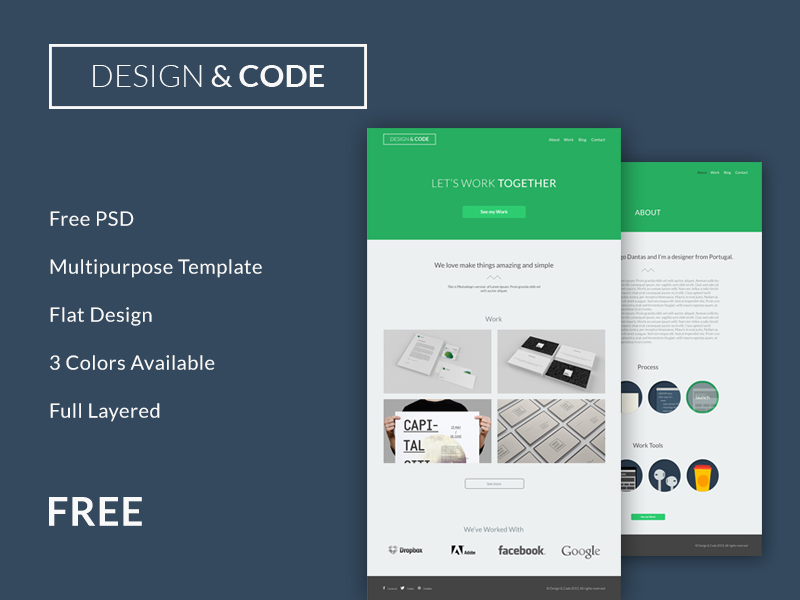 Minimal Flat Design Psd Website Template
