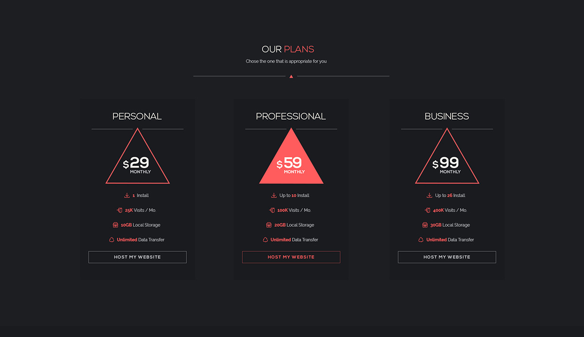 Minimal Pricing Table UI Design Free PSD