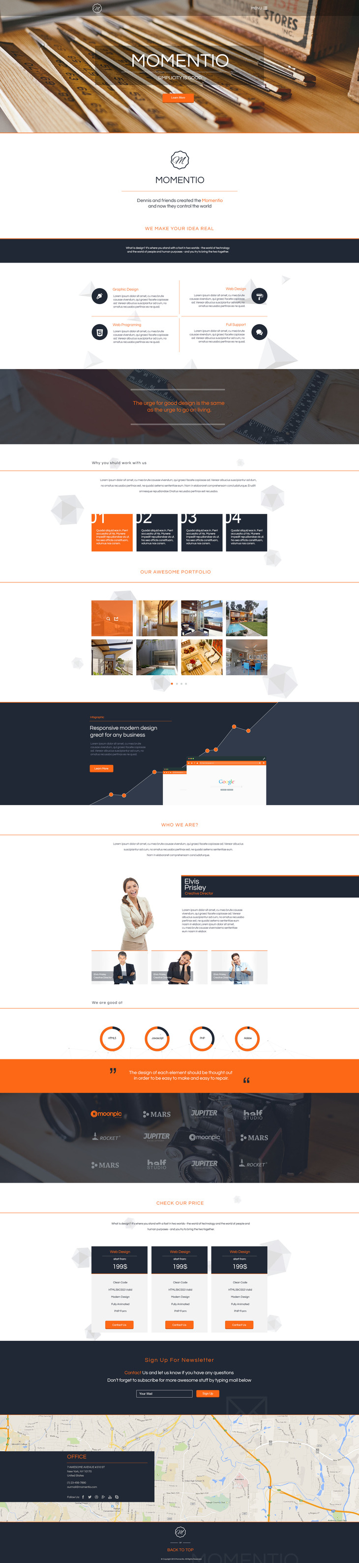 Minimalistic Single Page Template Free PSD