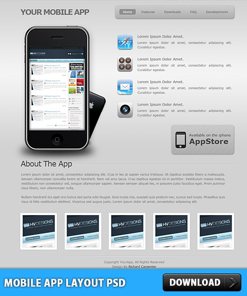 Mobile App Layout PSD