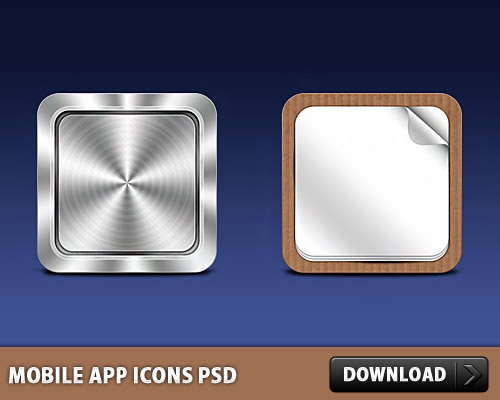 Mobile App Icons Free PSD