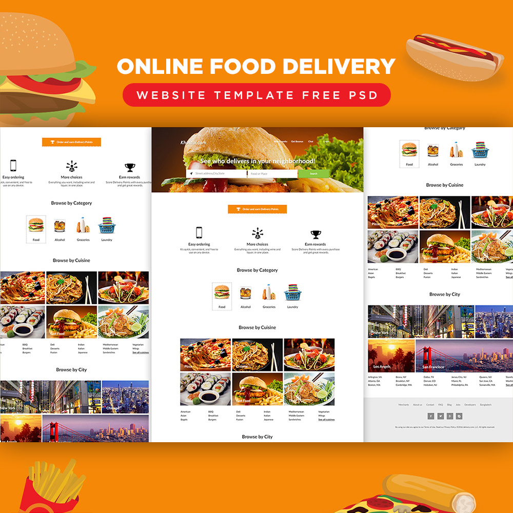 Food Delivery Website Template Psd