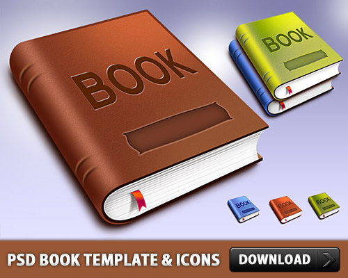 Book Template And Icons Free PSD File