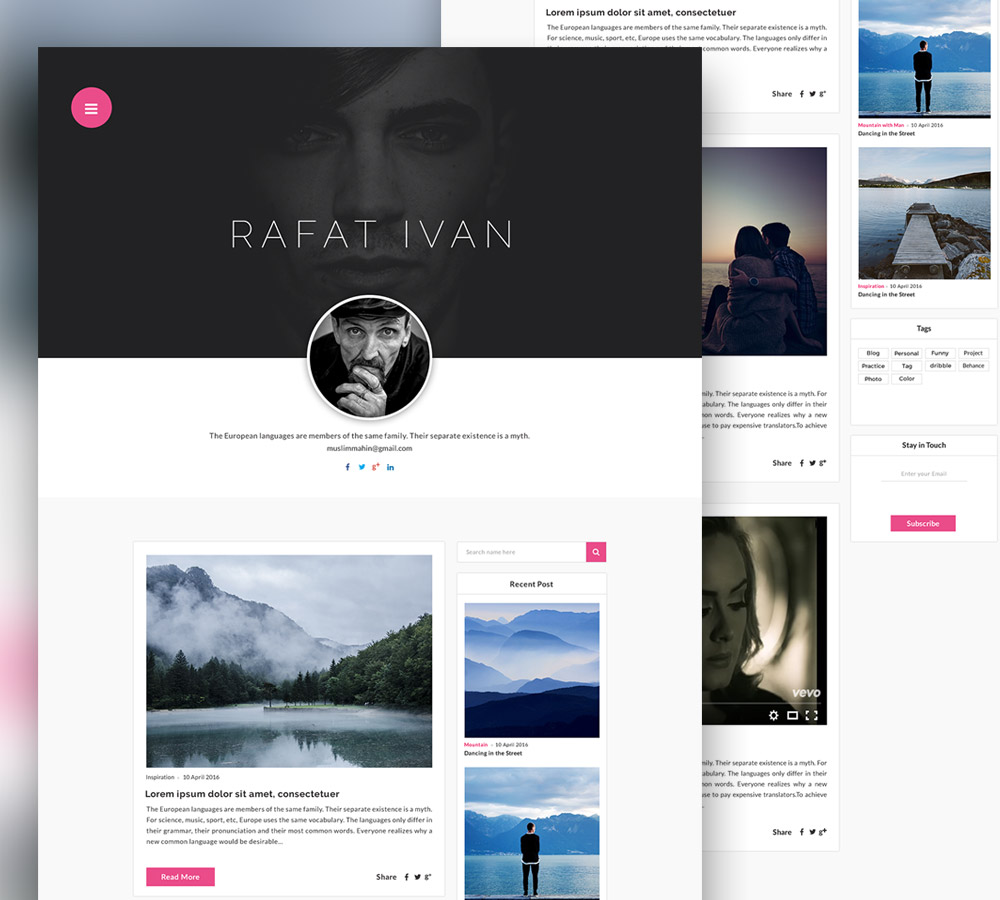Personal Blog Website Template Free PSD At DownloadFreePSDcom - Word website template