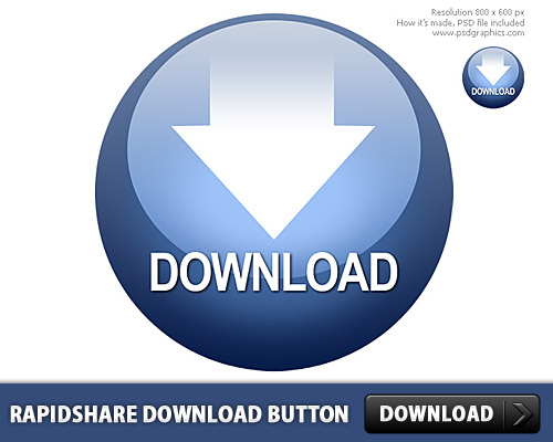 Rapidshare Download Button PSD L