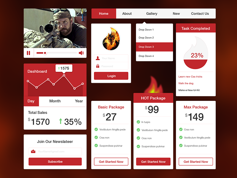 Red Hot Fire UI Kit PSD Freebie