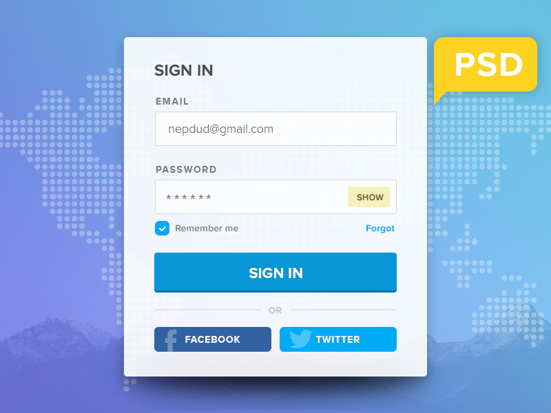 Simple Flat Login Panel PSD Freebie
