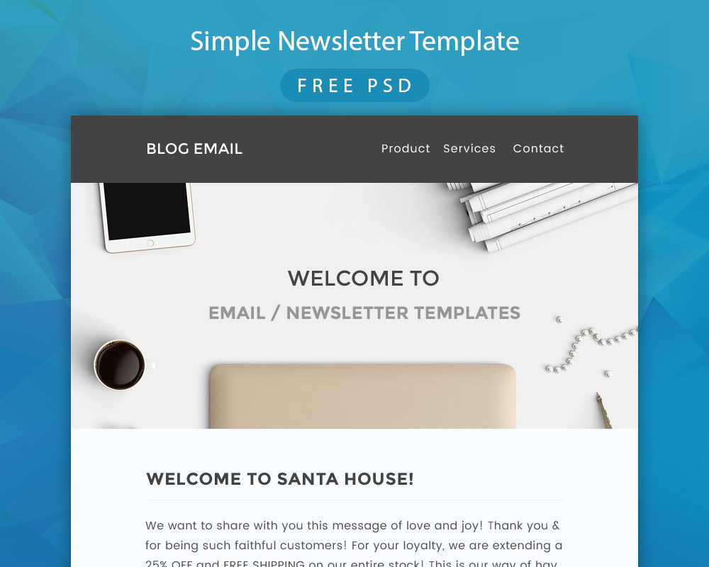 Simple newsletter template free psd at for Dreamweaver newsletter templates