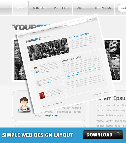 Simple Web Design Layout PSD
