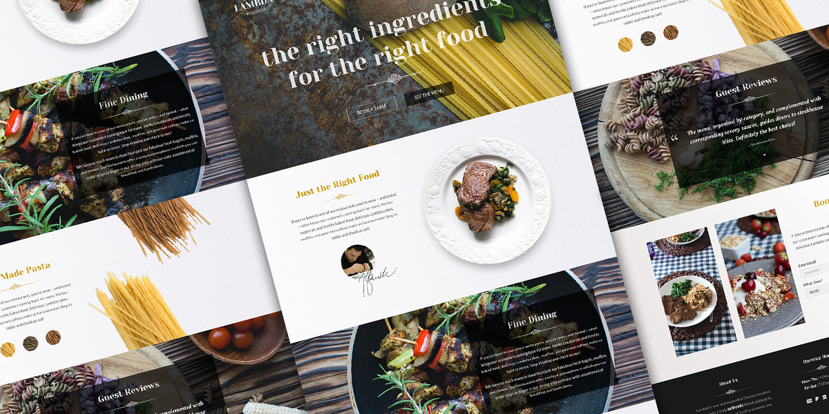 Single Page Restaurant Website Template PSD Featured