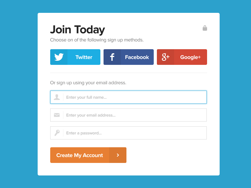 Social Sign Up Registration Form UI Free PSD