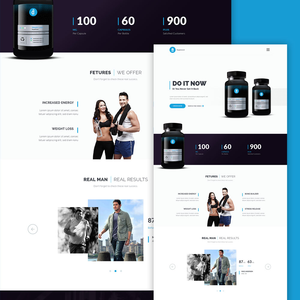 Supplement Product Landing Page Free PSD