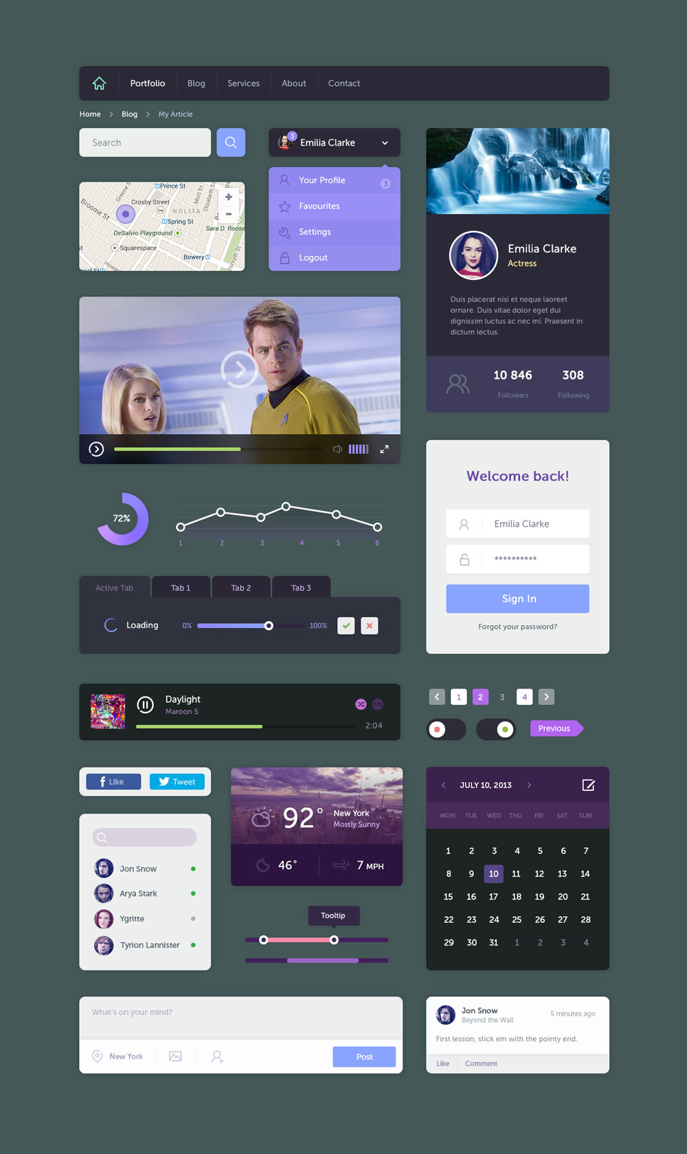 The Fluid UI Kit Free PSD