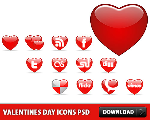 Valentines Day Icons PSD File L